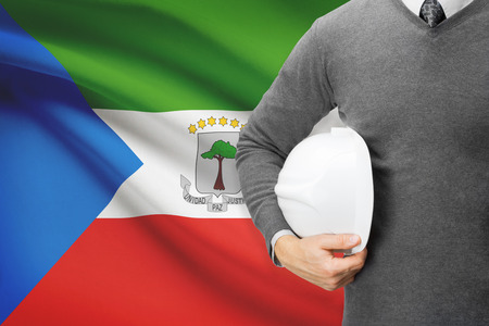 equatorial guinea: Architect with flag on background  - Equatorial Guinea Stock Photo