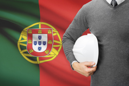 architector: Architect with flag on background  - Portugal