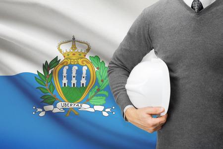 san marino: Architect with flag on background  - San Marino