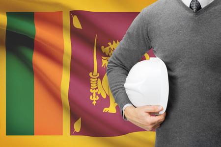 architector: Architect with flag on background  - Sri Lanka Stock Photo