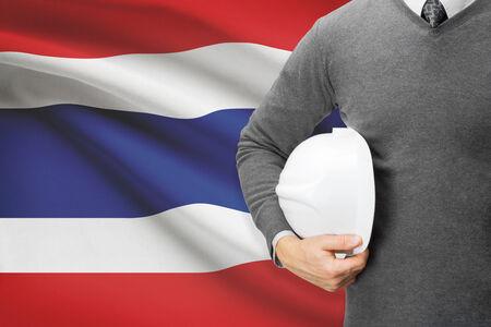 architector: Architect with flag on background  - Thailand