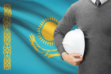 architector: Architect with flag on background  - Kazakhstan
