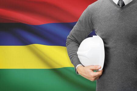 architector: Architect with flag on background  - Mauritius