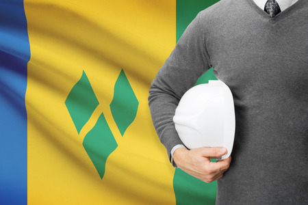 architector: Architect with flag on background  - Staint Vincent and the Grenadines
