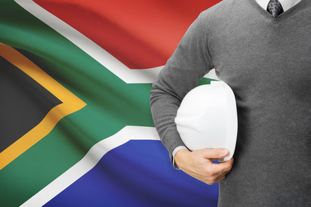 architector: Architect with flag on background  - South Africa
