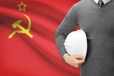 republics: Architect with flag on background  - Union of Soviet Socialist Republics