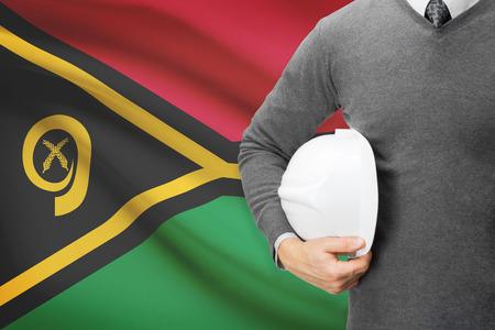 architector: Architect with flag on background  - Vanuatu Stock Photo