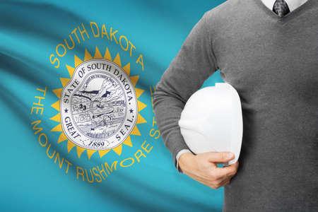 Engineer with flag on background series - South Dakota photo