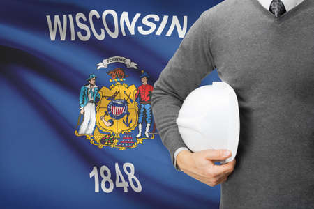 wisconsin flag: Engineer with flag on background series - Wisconsin Stock Photo