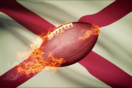American football ball with flag on backround series - Alabama