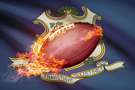 college footbal: American football ball with flag on backround series - Connecticut