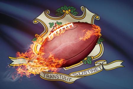 college footbal: Pelota de f�tbol americano con la bandera en serie apaisada - Connecticut Foto de archivo