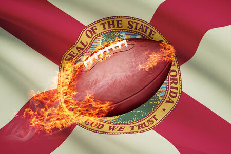college footbal: American football ball with flag on backround series - Florida