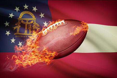 American football ball with flag on backround series - Georgia