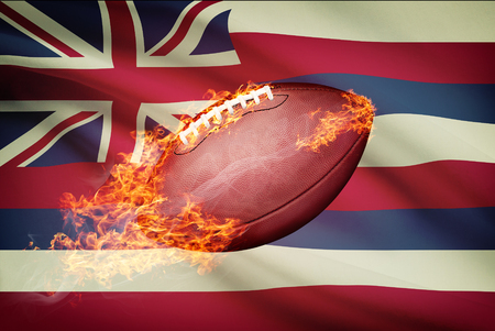 college footbal: American football ball with flag on backround series - Hawaii
