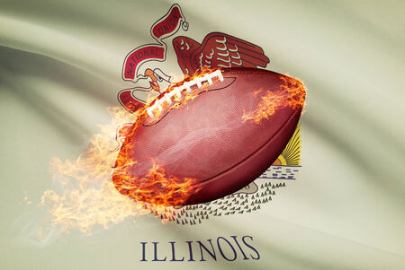 college footbal: American football ball with flag on backround series - Illinois Stock Photo