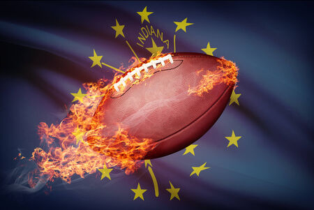 American football ball with flag on backround series - Indiana