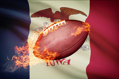 college footbal: American football ball with flag on backround series - Iowa