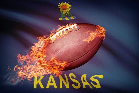 American football ball with flag on backround series - Kansas