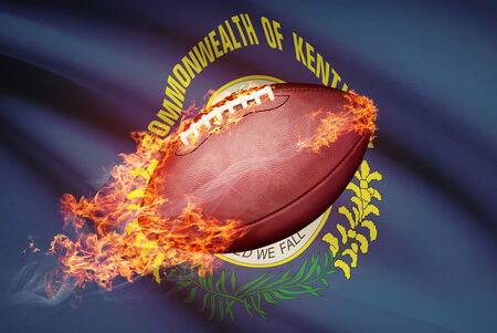 college footbal: American football ball with flag on backround series - Kentucky