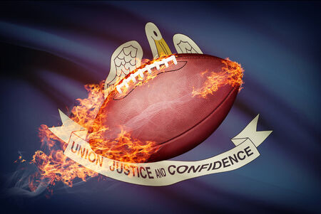 college footbal: American football ball with flag on backround series - Louisiana