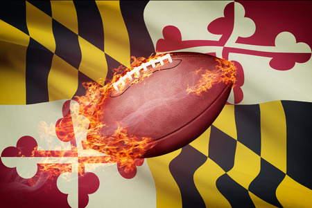 college footbal: American football ball with flag on backround series - Maryland
