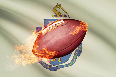 college footbal: American football ball with flag on backround series - Massachusetts
