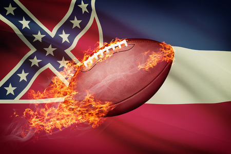college footbal: American football ball with flag on backround series - Mississippi