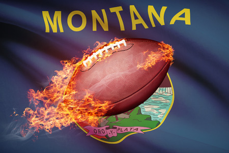 college footbal: American football ball with flag on backround series - Montana