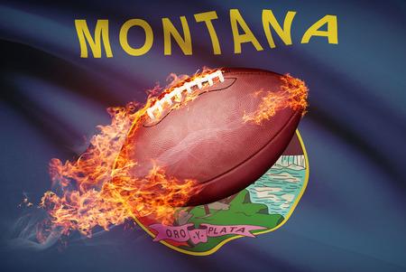 college footbal: Pelota de f�tbol americano con la bandera en serie apaisada - Montana
