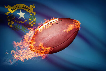 American football ball with flag on backround series - Nevada