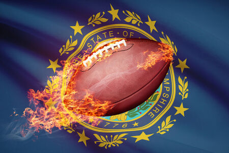 college footbal: American football ball with flag on backround series - New Hampshire
