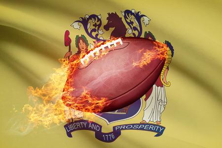 college footbal: Pelota de f�tbol americano con la bandera en serie apaisada - New Jersey