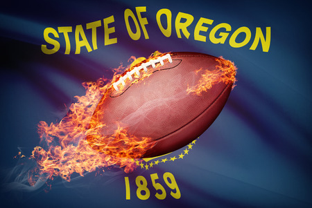 college footbal: American football ball with flag on backround series - Oregon