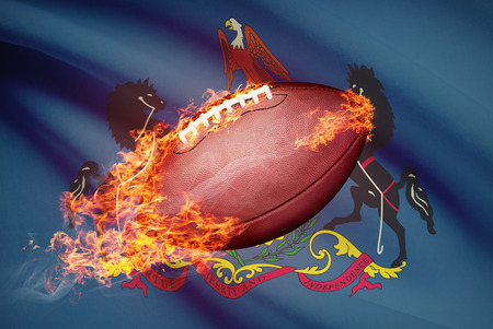 college footbal: American football ball with flag on backround series - Pennsylvania