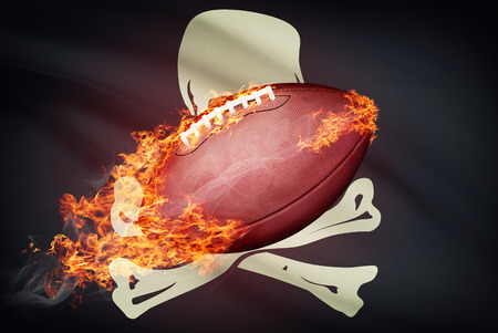 college footbal: American football ball with flag on backround series - Jolly Roger