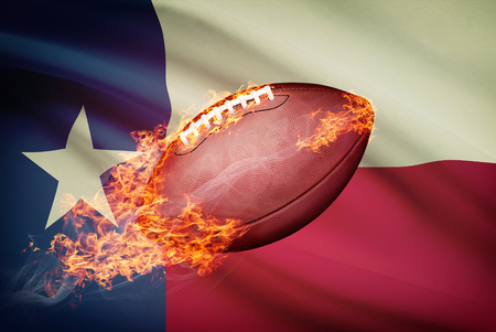 college footbal: American football ball with flag on backround series - Texas