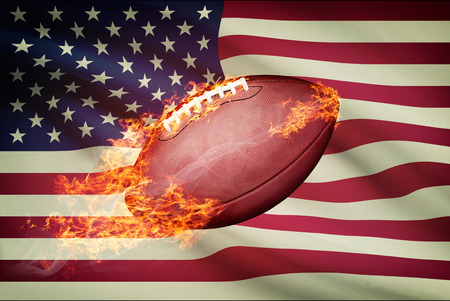 college footbal: American football ball with flag on backround series - USA