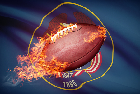 college footbal: American football ball with flag on backround series - Utah Stock Photo