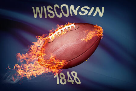 wisconsin flag: American football ball with flag on backround series - Wisconsin