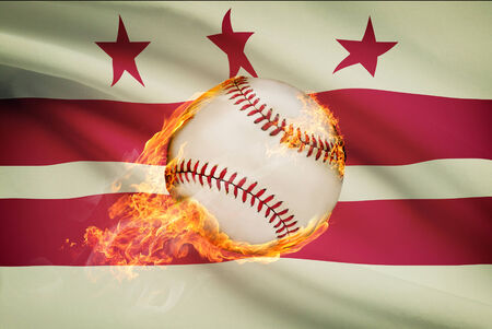 district of columbia: Baseball ball with flag on background series - District of Columbia - Washington, D.C.