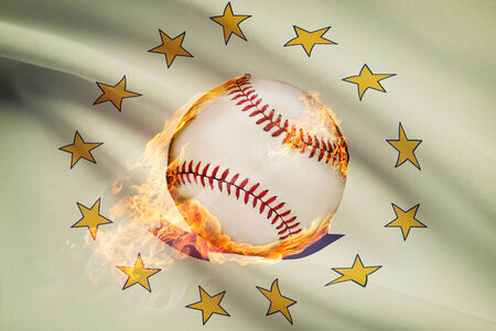 Baseball ball with flag on background series - Rhode Island photo