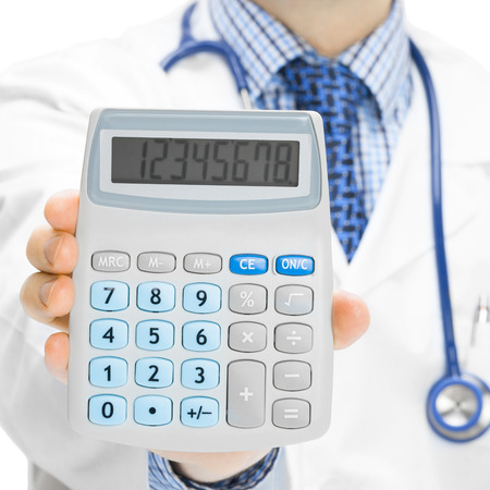Doctor with calculator in hand - 1 to 1 ratio photo