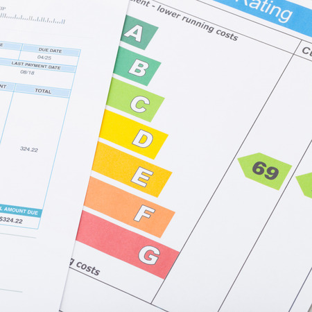Calculator with utility bill and energy chart - 1 to 1 ratio photo