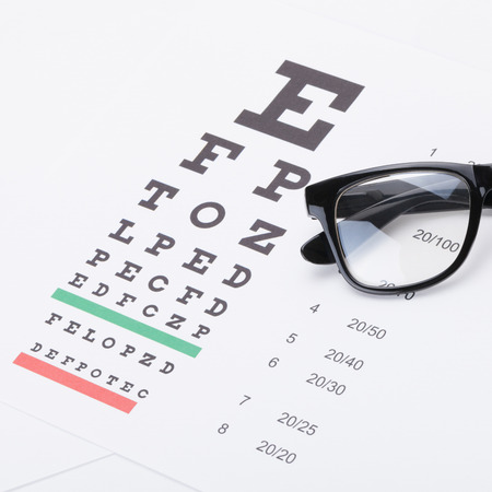 eye test: Eyesight test table with glasses over it - studio shot - 1 to 1 ratio Stock Photo