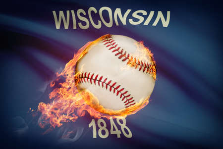 university of wisconsin: Baseball ball with flag on background series - Wisconsin Stock Photo