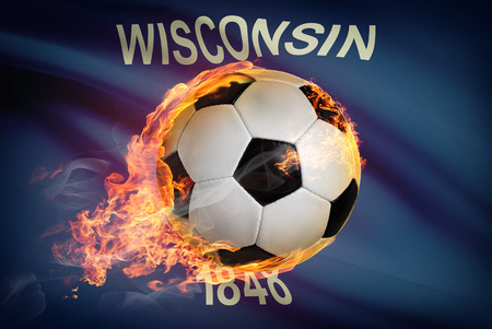 university of wisconsin: Soccer ball with flag on background series - Wisconsin