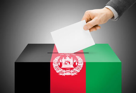 afghan flag: Voting concept - Ballot box painted into Afghanistan national flag