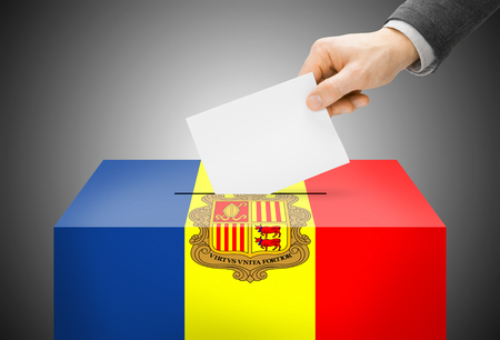 polling booth: Voting concept - Ballot box painted into Andorra national flag