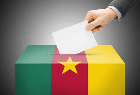 Voting concept - Ballot box painted into national flag colors - Cameroon photo